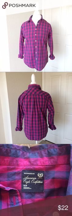 American Eagle Plaid Button Down American Eagle Plaid Button Down - size small - magenta and gray - EUC - boyfriend fit American Eagle Outfitters Tops Button Down Shirts