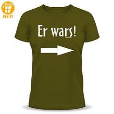 Lustige Witzige Coole Sprüche Fun T-Shirt Er war's! Jetzt mit Ihrem persönlichen Wunschnamen am linken Ärmel Bedruckt! von Soreso® L - T-Shirts mit Spruch | Lustige und coole T-Shirts | Funny T-Shirts (*Partner-Link)