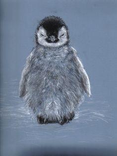 Baby Penguin ) Love This Little Fella. Cats, Dogs, Polar Bears - Baby Penguin Sketch : Baby Penguin ) Love This Little Fella. Penguin Sketch, Penguin Art, Penguin Love, Pastel Artwork, Oil Pastel Paintings, Love Drawings, Animal Drawings, Pinguin Drawing, Pinguin Illustration