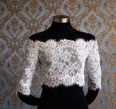Off-Shoulder Alencon Lace Bridal Bolero jacket shrug by IHeartBride Style Adelaide Estera. $349.00, via Etsy.