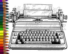 """The Shining"" Jack's Typewriter - Adult Coloring Page by AlbrightIllustration"