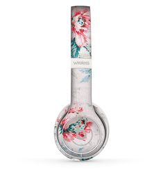 The Coral & Blue Grunge Watercolor Floral Skin Set for the Beats by Dre Solo 2 Wireless Headphones