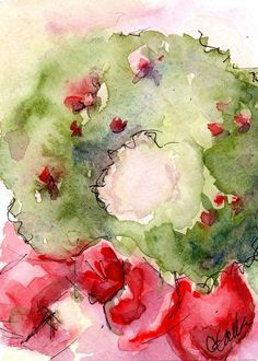 "Christmas Art Wreath Print from my Watercolor Painting - 5"" x 7"""