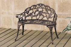 38 inches  $89 P50104 Dark floral design casting aluminum and iron love seat garden patio bench seat