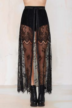 at nasty gal Kiss Them for Me Lace Tie Skirt
