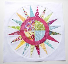 "A New York Beauty block for Jo (bellsbellsjo). She requested spring colors—pinks, blues, greens and yellows. The pattern is from the book ""Paper Piecing with Alex Anderson"". Paper Piecing Patterns, Quilt Block Patterns, Quilt Blocks, Quilting Projects, Quilting Designs, Quilt Design, Circle Quilts, Foundation Paper Piecing, English Paper Piecing"