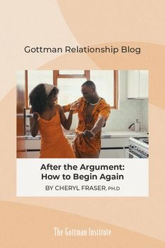 """""""When you mess up, do it over, and do it better."""" What happens after the argument? Cheryl Fraser, Ph.D shows you how to reconnect after disconnect on our Gottman Relationship Blog. Relationship Blogs, Relationships, Gottman Institute, Fighting Fair, John Gottman, Touch Love, Begin Again, Shake Hands, Love Again"""
