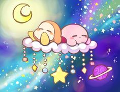 Kirby and a Waddle Dee are sleeping ^w^