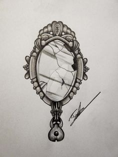 Mirror 2 by Aineg on DeviantArt - Mirror Ideas Mirror Tattoos, Body Art Tattoos, Sleeve Tattoos, Vintage Frame Tattoo, Vintage Frames, Spiegel Tattoo, Disney Frames, Framed Tattoo, Jewel Tattoo