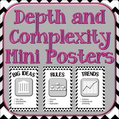 A ink-saving poster set with all 11 of the Depth and Complexity Icons and the 5 Content Imperative Icons. Susan Kaplan's Depth and Complexity icons are great way to get your students thinking critically in all subject areas. Each poster shows the icon/ visual, the name of the icon and some word clues to the thinking involved.The posters are 2-a-page.