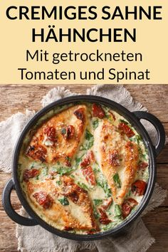 Toskana Sahne Hähnchen – Low Carb Abendessen zum Abnehmen This cream chicken with sun-dried tomatoes and spinach is a delicious low carb dinner with meat. Here you will find the simple recipe for losing weight. Heart Healthy Chicken Recipes, Healthy Dinner Recipes, Law Carb, Dried Tomatoes, Low Calorie Recipes, Quick Easy Meals, Quick Recipes, The Best, Cooking