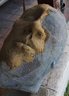 Make a Ferrocement Stone Face – Ultimate Paper Mache or monster parts joint compound to 1 part elmer's glue) Cement Art, Concrete Crafts, Concrete Art, Concrete Projects, Concrete Garden, Concrete Molds, Paper Clay, Paper Art, Paper Mache Sculpture