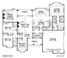 NEW HOUSING TRENDS Where did the open floor plan originate? 2453 sq ft: One level with 454 sf bonus up. First Floor Plan of The Peyton - House Plan Number 1289 House Plans One Story, Dream House Plans, Story House, House Floor Plans, My Dream Home, One Level House Plans, Dream Homes, The Plan, How To Plan