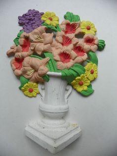 HUBLEY CAST IRON antique Flower painted Doorstop 489 Gladiolas
