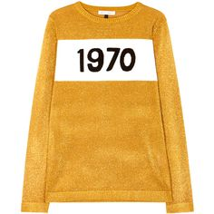 Bella Freud 1970 gold fine-knit jumper ($350) ❤ liked on Polyvore featuring tops, sweaters, outerwear, gold metallic top, intarsia sweater, metallic top, gold sweater and yellow sweater