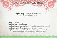 egészség [ˈɛɡeːsʃeːɡ] – health [Literally::: wholeness] https://dailymagyar.wordpress.com/2014/01/23/egeszsegedre/ #Hungarian #language #health #egészség #egészségedre