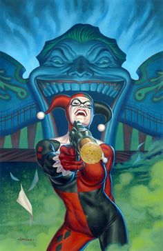 ✯ Harley Quinn at the Carnival :: Artist Jason Edmiston ✯ Comic Sans, Comic Book Characters, Comic Books Art, Jason Edmiston, Joker Y Harley Quinn, Der Joker, Harely Quinn, Drawn Art, Batman Universe