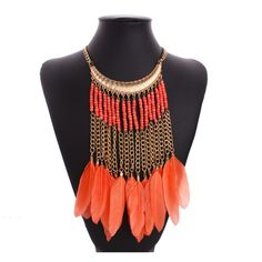 Hot sale  women jewelry BOHO style statement necklace long resin beads feather tassel necklace for party accessories N30801