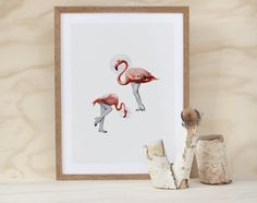 intheearlyhours : the birds one (a3 vintage retro flamingo bird animal shoes legs collage giclee art print)