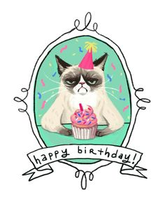 Grumpy cat Happy birthday with cupcake Happy Birthday Quotes, Happy Birthday Images, Birthday Messages, Birthday Pictures, Happy Birthday Wishes, Birthday Greetings, It's Your Birthday, Birthday Memes, Unhappy Birthday