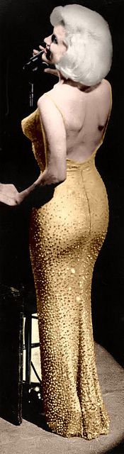 Marilyn Monroe 'Happy Birthday, Mr. President' the dress was so tight, she was sewn into it!  Dress Price: $1,260,000 in 1999 auction [$1,767,180. in 2013]