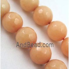 Quartzite Jade beads, stability, faceted round dia, approx per st Jade Beads, Stability, Peach, Stud Earrings, Food, Stud Earring, Essen, Peaches, Meals