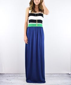 Look at this #zulilyfind! Navy Stripe Maxi Dress #zulilyfinds