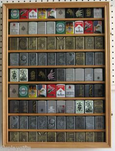 90 Military Zippo Lighter Display Case Holder Cabinet, W/door Lc06-oak