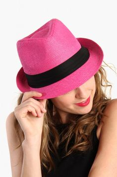 LoveMelrose.com From Harry & Molly | Hipster Fedora Hat - Pink