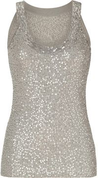 Donna Karan Oyster Sequined Cashmere-Silk Knit Tank Top on shopstyle.ca