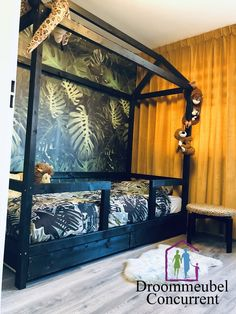 Dream away in this beautifully finished Jungle bed house with drawers. Safari Bedroom, Boys Bedroom Decor, Baby Bedroom, Baby Room Decor, Girls Bedroom, Creative Kids Rooms, E Room, Toddler Rooms, Kid Beds