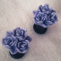 4g 5mm Purple Cluster Roses Acrylic Plugs Gauged by Glamsquared