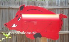 Razorback Hog Mailbox, Great gift idea for Arkansas Razorback fans Painted Mailboxes, Woo Pig Sooie, You've Got Mail, Pig Farming, Going Postal, Games Box, Flying Pig, Arkansas Razorbacks, Animales