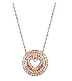 Rose tone round Heart necklace sterling silver