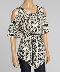 Look at this #zulilyfind! Black & White Geometric Cutout Top - Women by Reborn Collection #zulilyfinds