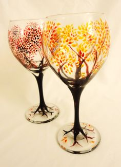 Autumn Trees Wine Glasses, $30.00 you could probably buy cheap glasses and paind them or use sharpies yourself for easy fun trees