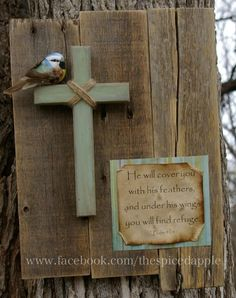 Handmade rustic wooden sign with cross and bible verse made by The Spiced Apple. Without bird. Wooden Cross Crafts, Wooden Crosses, Wall Crosses, Wooden Diy, Pallet Crafts, Pallet Art, Rustic Signs, Wooden Signs, Christian Crafts
