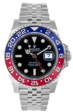 Rolex Steel GMT-Master II 40 Watch - Blue And Red Pepsi Bezel - Black Dial - Jubilee Bracelet stainless steel case with Oystersteel monobloc middle case, s Rolex Gmt Master 2, Vintage Rolex, Stainless Steel Case, Rolex Watches