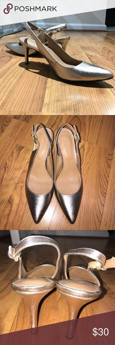 CALVIN KLEIN Bronze kitten Heels 8 Pointed toe I love how stylish and even comfortable these pointed toe bronze CALVIN KLEIN heels are. I wore them To a birthday dinner. Stops have some wear and the heels have a few nicks on the back. Very minor stuff. They look great on! Calvin Klein Shoes Heels