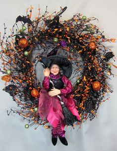 Halloween Witch Fall Pip Berry Wreath Pink by Designawreath