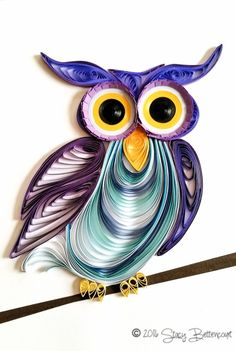 Quilled Purple Owl