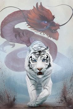 The Tiger And The Dragon Canvas Wall Art by Steve Goad Dragon Tiger Tattoo, White Tiger Tattoo, Tiger Dragon, Japan Tattoo Design, Tiger Tattoo Design, Tiger Artwork, Dragon Artwork, Tattoo Oriental, Dragons