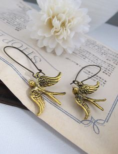 Soaring Birds Earrings. Antiqued Gold Plated Flying Birds