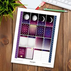 Astronomical Full Box Pattern and Design Printable Planner Stickers for the Mambi Happy Planner by Scrapcraftastic.etsy.com
