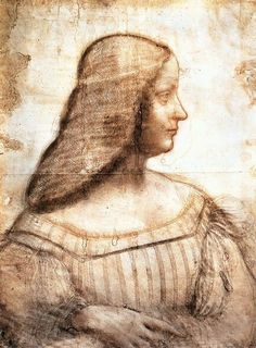 Leonardo Da Vinci. Drawing of Isabella s'este