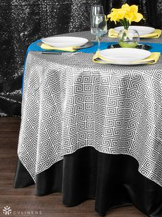 Bold Black White Canary Yellow And Royal Blue Tablescape The Greek Key