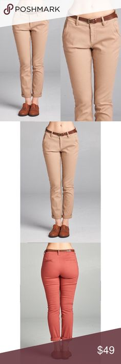 Twill Crop Pants - Khaki Super cute & super comfy! Has pockets & comes with the belt. These are PERFECT for fall! 97% Cotton 3% Spandex. No trades. Last pic is to show the back. Kyoot Klothing Pants Ankle & Cropped