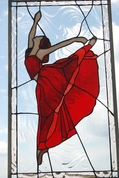 stained glass dancer #StainedGlassPanels