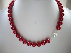 Ruby Red Pearl Necklace with White Pearl by DesignsbyPattiLynn, $50.00