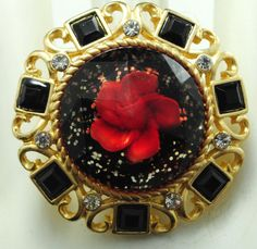 Unique Gold Statement Ring/Black/Red Flower/Glitter/Rhinestone Ring/Mother's Day Gift/Adjustable/Under 20 USD